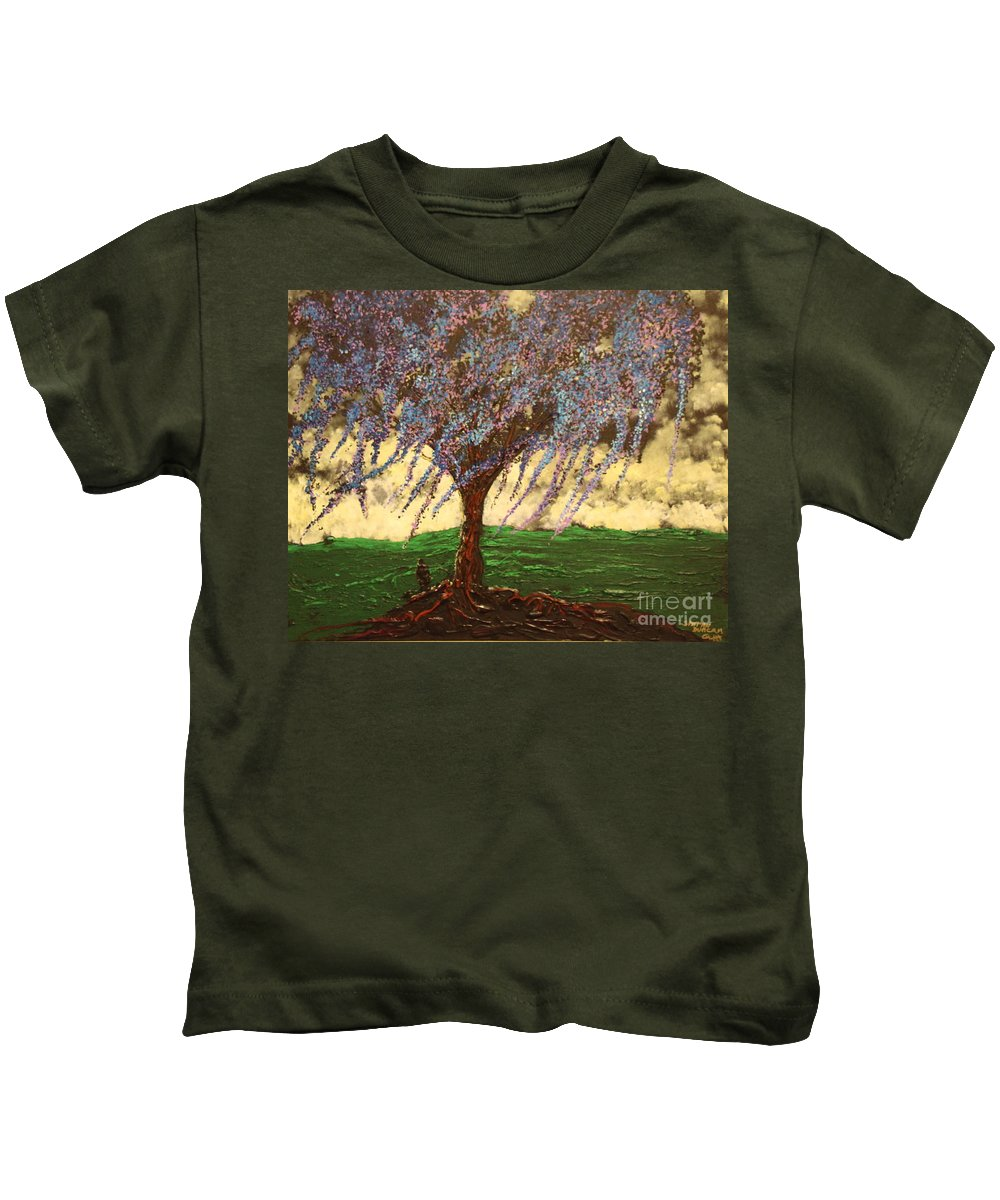 Landscape Kids T-Shirt featuring the painting Inspiration of What Dreams May Come by Stefan Duncan