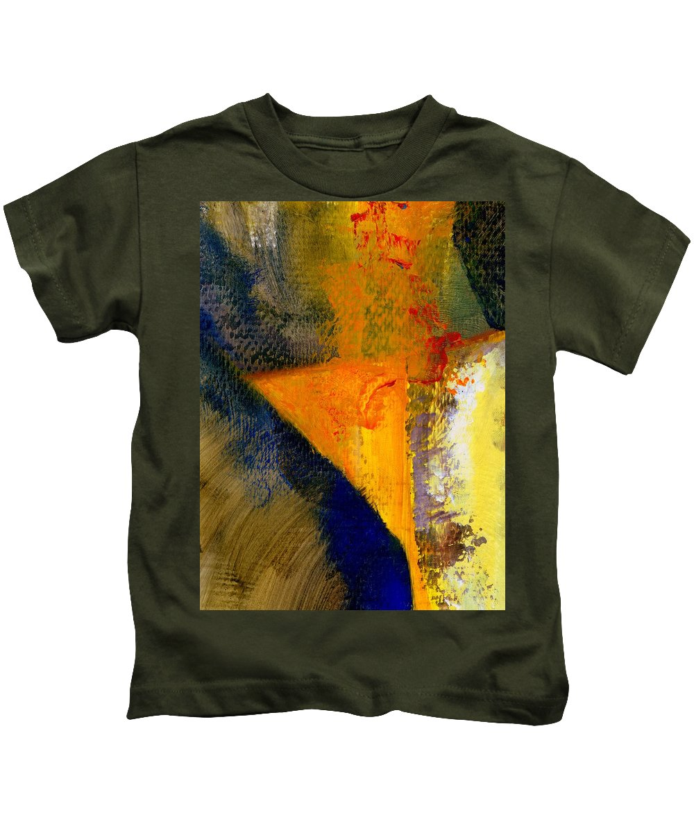 Rustic Kids T-Shirt featuring the painting Orange and Blue Color Study by Michelle Calkins