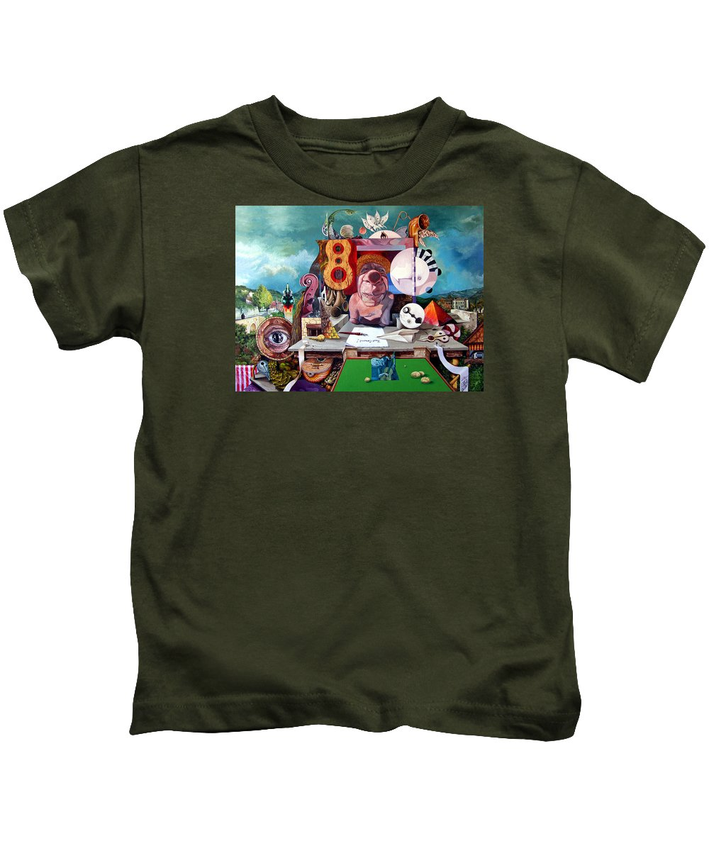 Surrealism Kids T-Shirt featuring the painting Pablos Last Concert by Otto Rapp