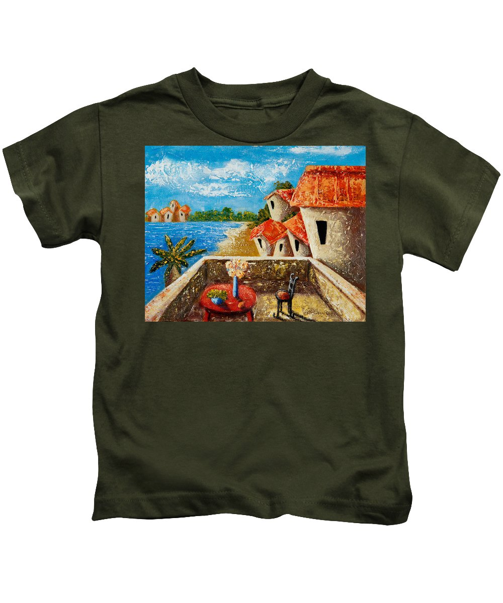 Landscape Kids T-Shirt featuring the painting Playa Gorda by Oscar Ortiz