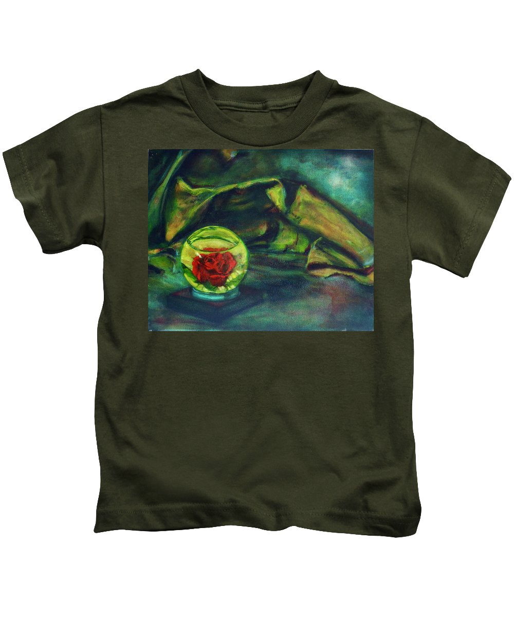 Oil Painting On Canvas Kids T-Shirt featuring the painting Preserved Rose . . Draped Canvas by Sean Connolly