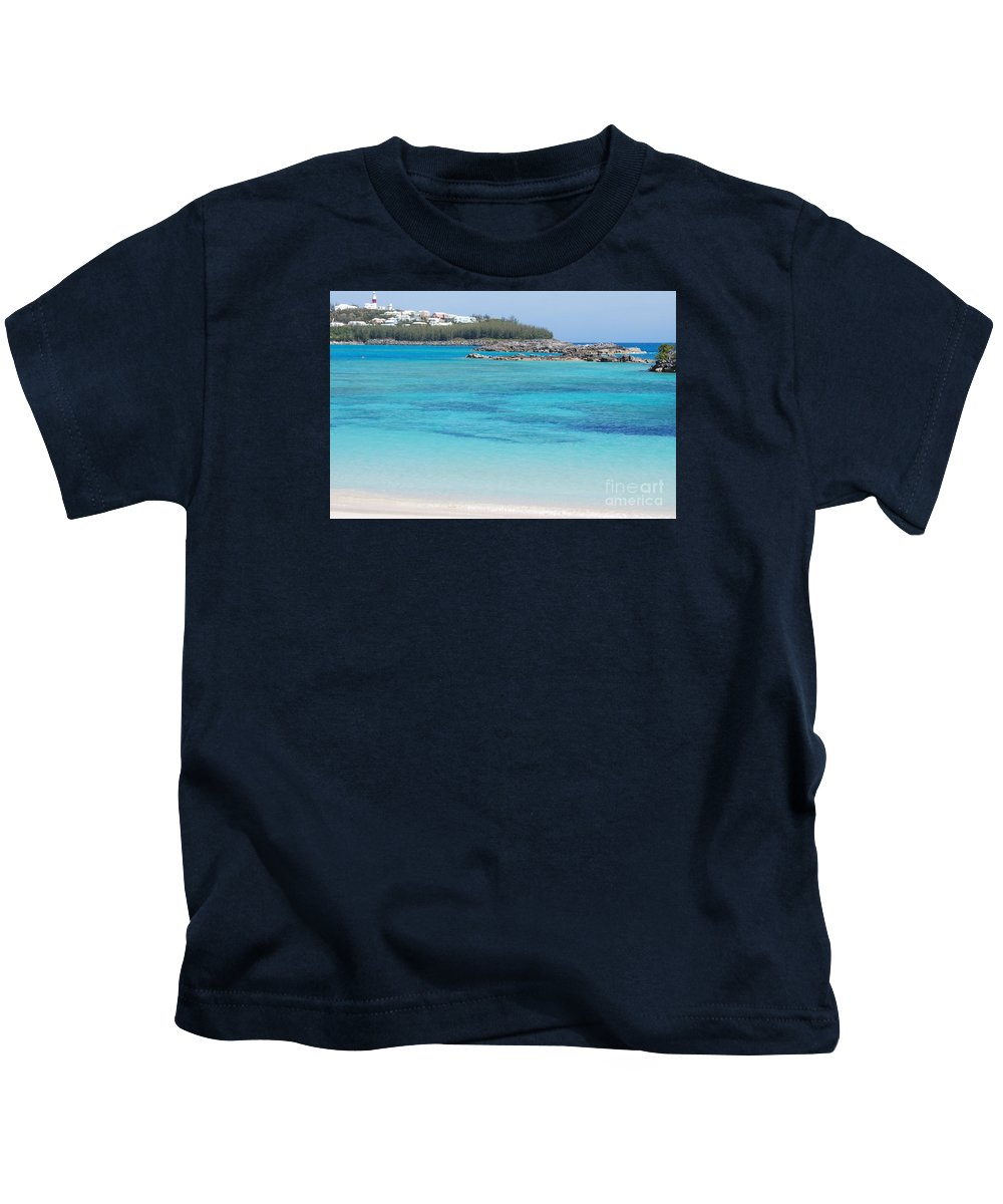 Seascape Travel Bermuda Serenity Stock Shot Destination St Davids Island Nature Tourism Lighthouse Adventure Beauty Landmark Water Art Outdoors Ocean Rocks Forest Feng Shui Turquoise Color Blue Greeting Card Metal Frame Recommended Poster Print Available On Shower Curtains Tote Bags T Shirts Weekender Tote Bags Duvet Covers Pouches Throw Pillows Beach Towels Mugs And Phone Cases Kids T-Shirt featuring the photograph A Vision Of Turtle Bay, Bermuda by Marcus Dagan