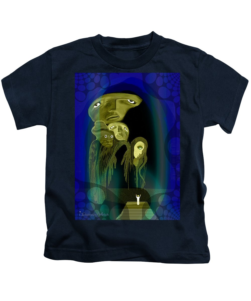 028 Kids T-Shirt featuring the painting 028 - The Arrival Of The Gods by Irmgard Schoendorf Welch