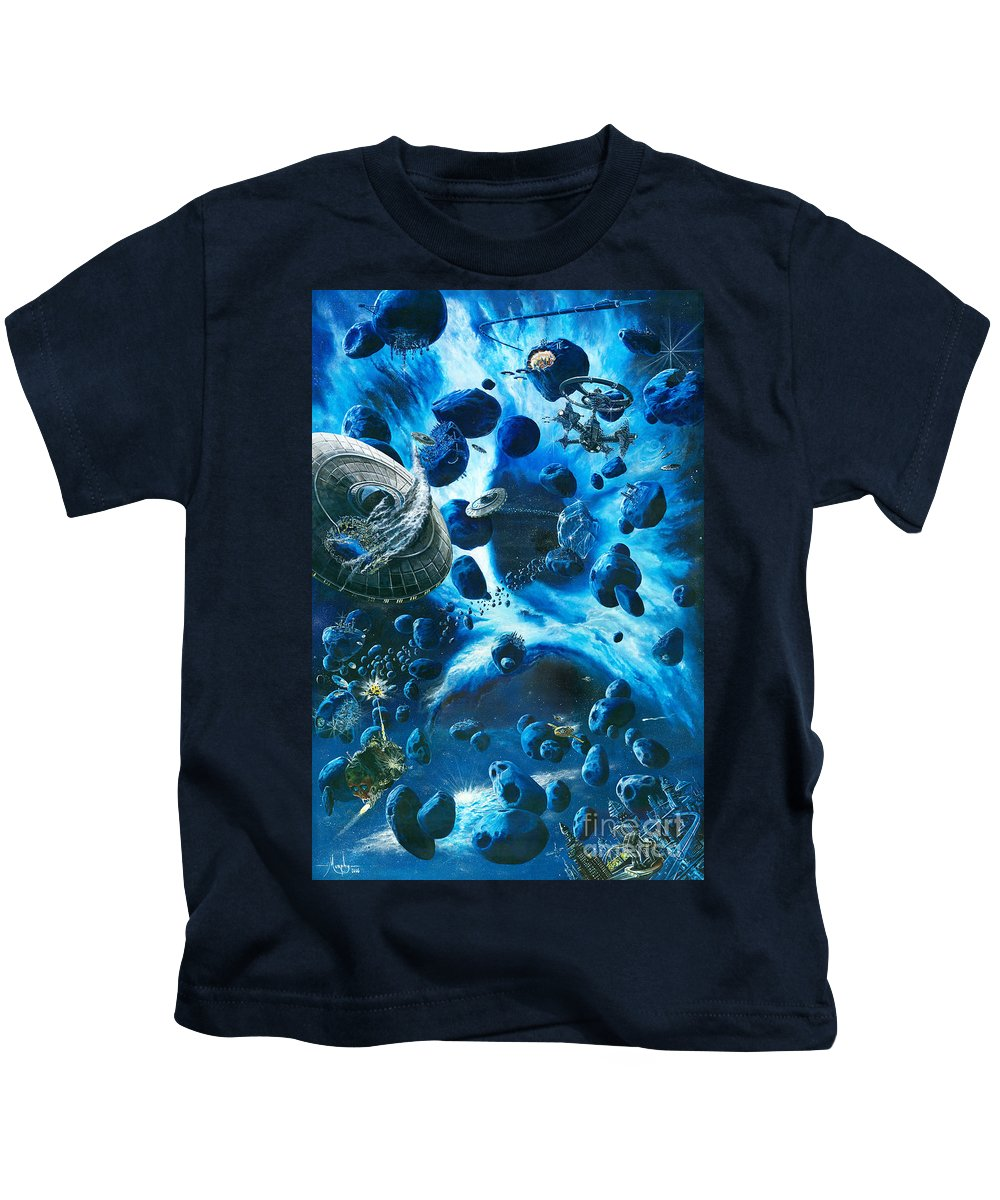 Asteroid Kids T-Shirt featuring the painting Alien Pirates by Murphy Elliott