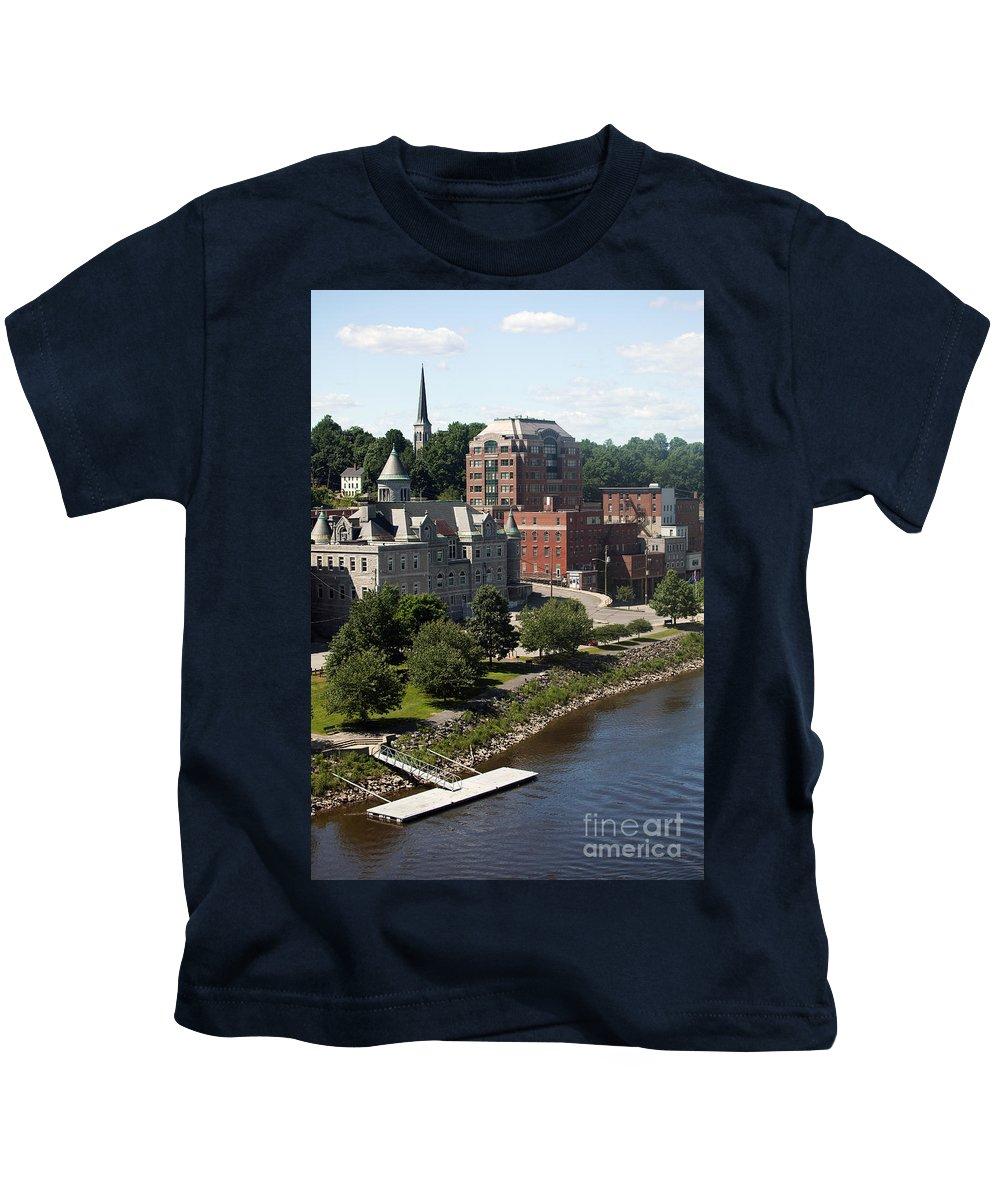 Kennebec River Kids T-Shirt featuring the photograph Augusta Skyline by Bill Cobb