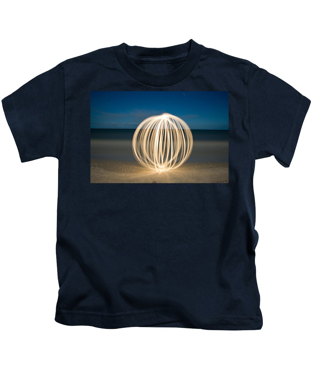 Night Photography Kids T-Shirt featuring the photograph Ball Of Light Marco Island Beach by Rich Franco
