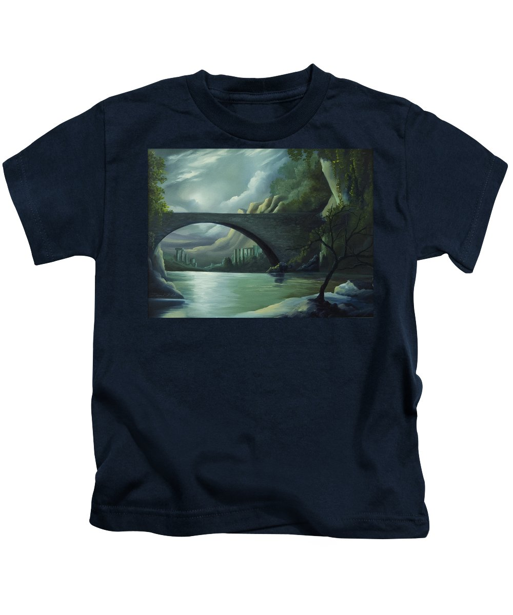 Ghosts Kids T-Shirt featuring the painting Bridge To Nowhere by James Christopher Hill