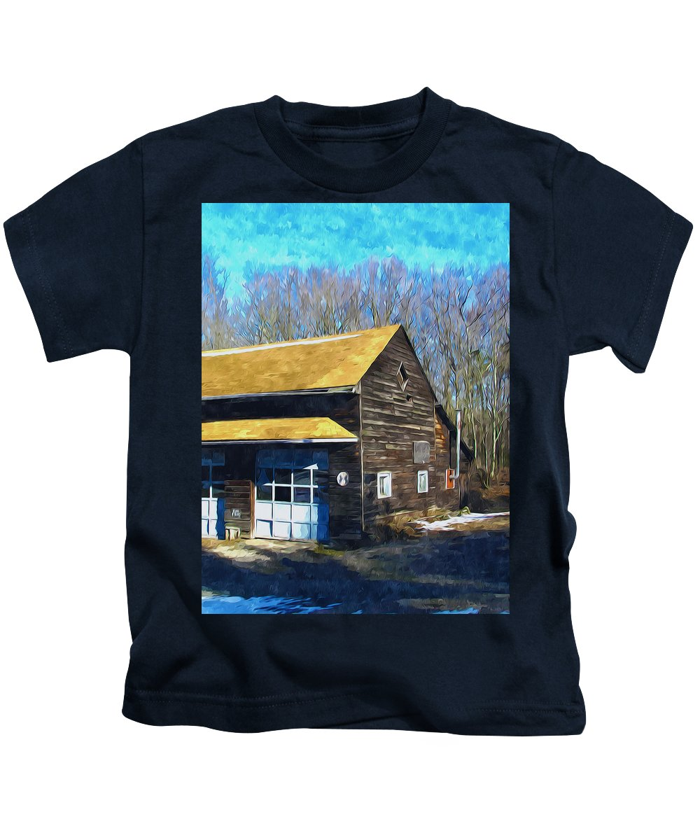 Antique Kids T-Shirt featuring the painting Garage 1 by Jeelan Clark