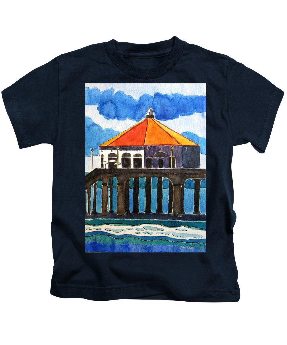 Manhattan Beach Kids T-Shirt featuring the painting Manhattan Beach California by Lesley Giles