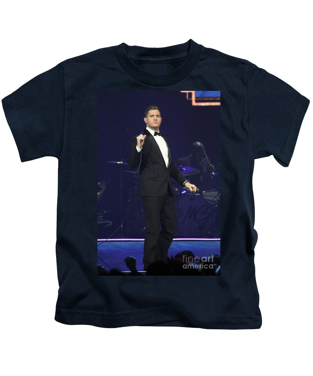 Photos For Sale Kids T-Shirt featuring the photograph Singer Michael Buble by Concert Photos