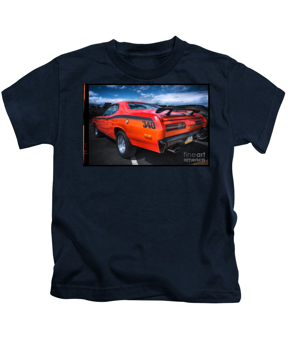 Plymouth Duster 340 Kids T-Shirt featuring the photograph Plymouth Duster 340 by David B Kawchak Custom Classic Photography