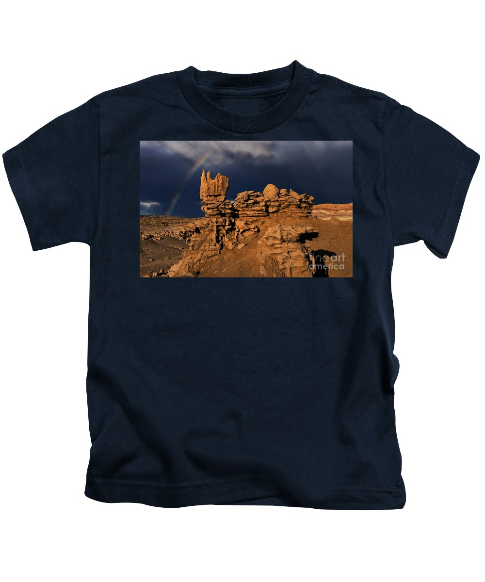 North America Kids T-Shirt featuring the photograph Rainbow And Sandstone Formations Fantasy Canyon Utah by Dave Welling