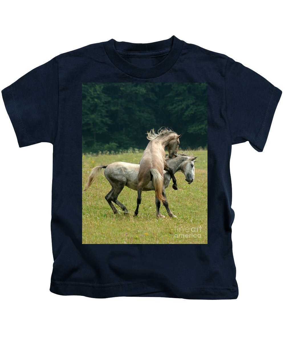 Horse Kids T-Shirt featuring the photograph The Bite by Angel Ciesniarska