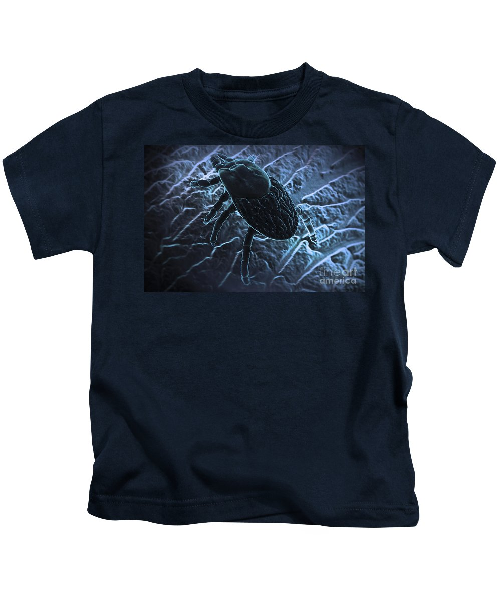 3d Visualisation Kids T-Shirt featuring the photograph Tick Ixodes by Science Picture Co