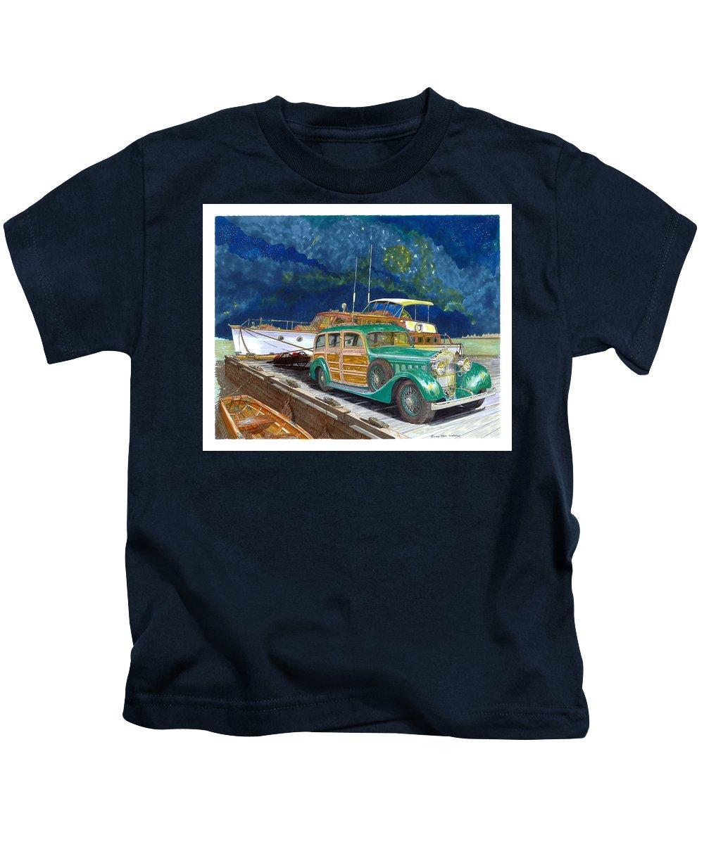 Classic Car Art Kids T-Shirt featuring the painting 1936 Hispano Suiza Shooting Brake by Jack Pumphrey