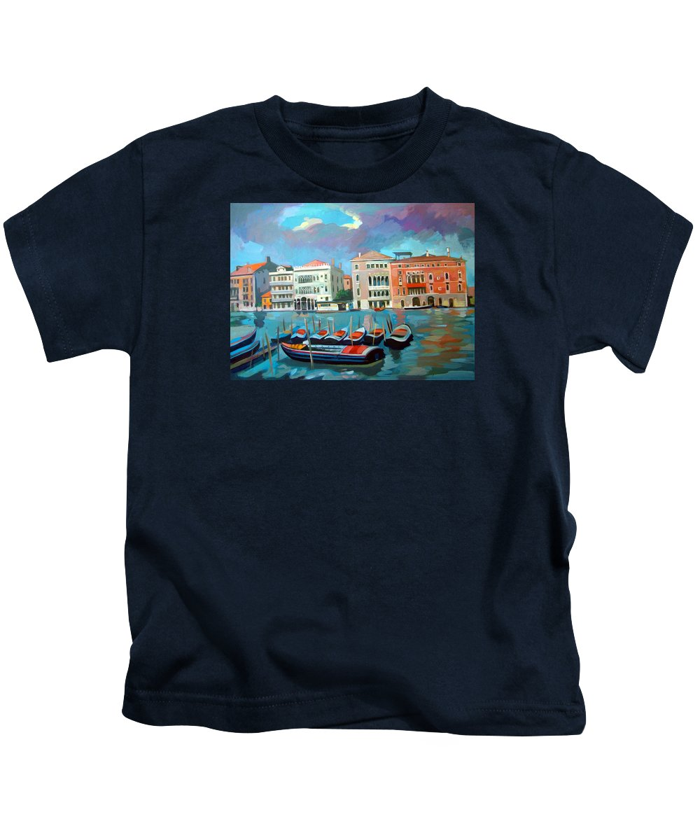 Venice Kids T-Shirt featuring the painting Canal Grande by Filip Mihail