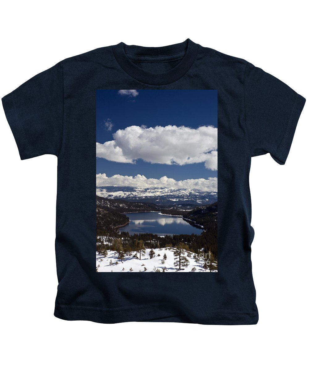 Travel Kids T-Shirt featuring the photograph Donner Lake Donner Pass With Snow by Jason O Watson