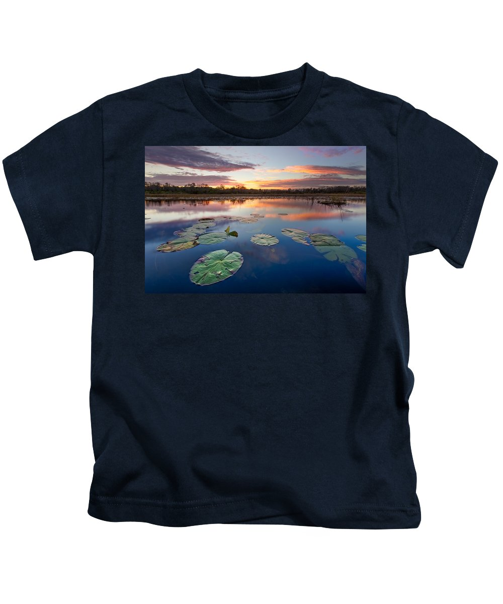 Clouds Kids T-Shirt featuring the photograph Everglades At Sunset by Debra and Dave Vanderlaan
