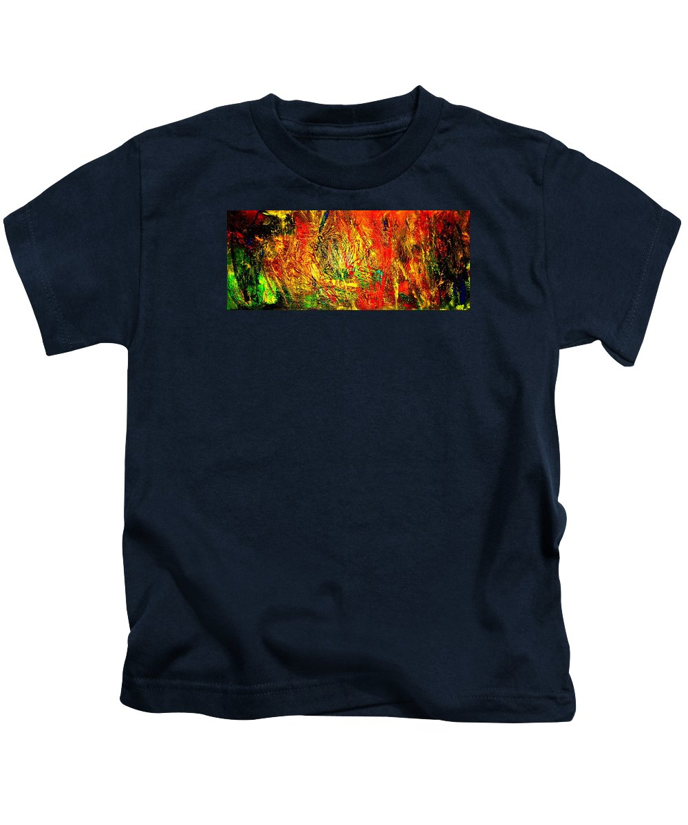 Painting Acrylics Prints Kids T-Shirt featuring the painting Garden Of Dreams by Monique's Fine Art
