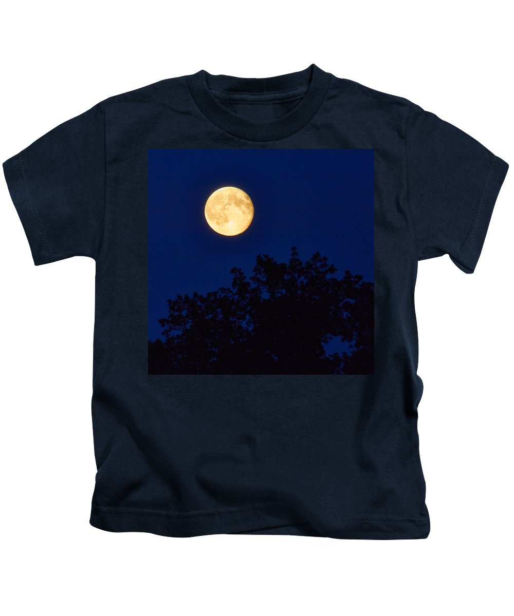 Aggatorp Kids T-Shirt featuring the photograph Harvest Moon by Jouko Lehto