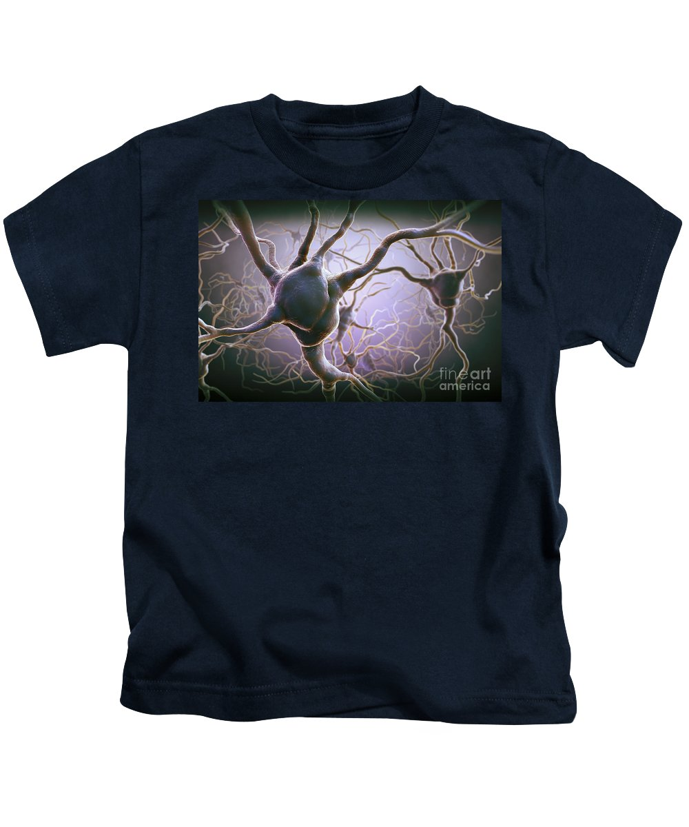 Anatomical Model Kids T-Shirt featuring the photograph Neuron by Science Picture Co