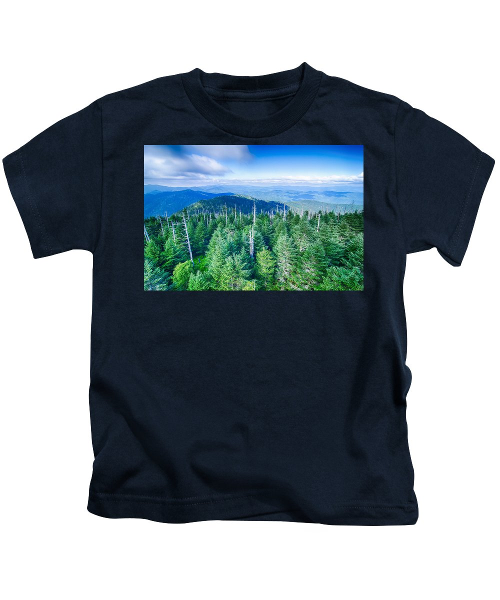 Great Kids T-Shirt featuring the photograph A Wide View Of The Great Smoky Mountains From The Top Of Clingma by Alex Grichenko