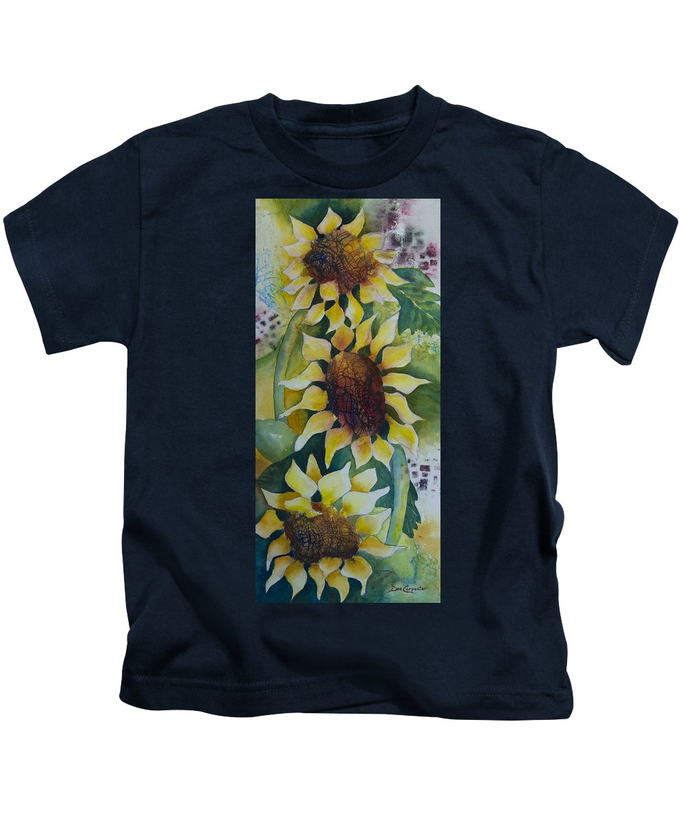 Sunflower Kids T-Shirt featuring the painting 3 Sunflowers by Dee Carpenter
