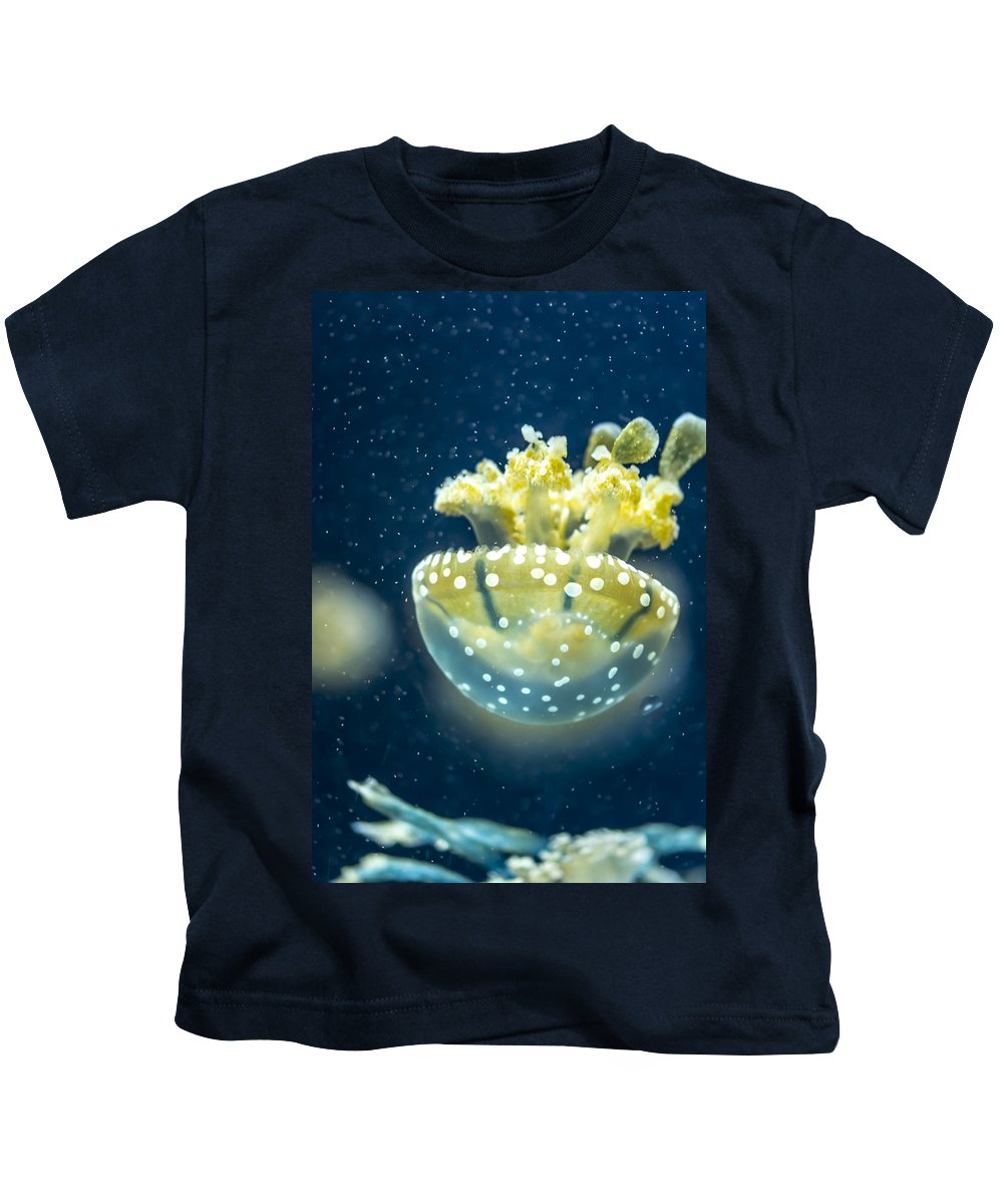 Animal Kids T-Shirt featuring the photograph Jelly Fish by Jijo George