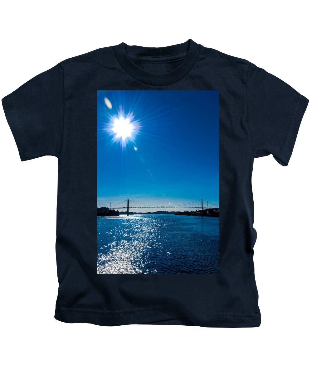 Norway Kids T-Shirt featuring the photograph a Bridge with Flare by Alex Hiemstra