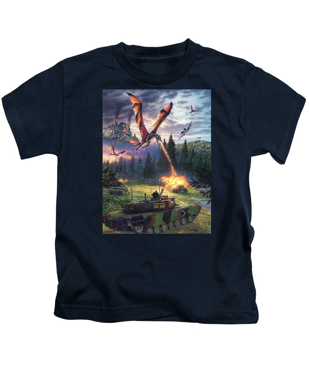 Dragon Kids T-Shirt featuring the painting A Clash Of Worlds by Stu Shepherd