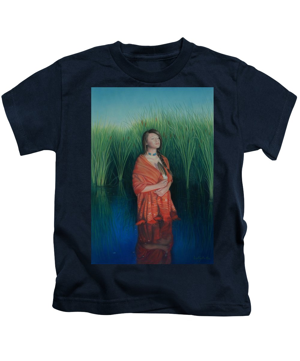 Realistic Kids T-Shirt featuring the pastel A Prayer For The Waters by Holly Kallie