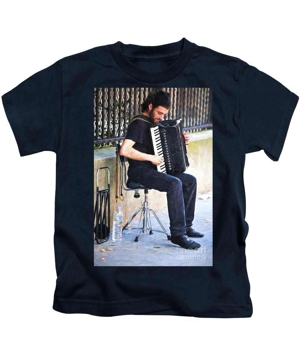 Paris Kids T-Shirt featuring the photograph Accordianist in Paris by Sheila Smart Fine Art Photography