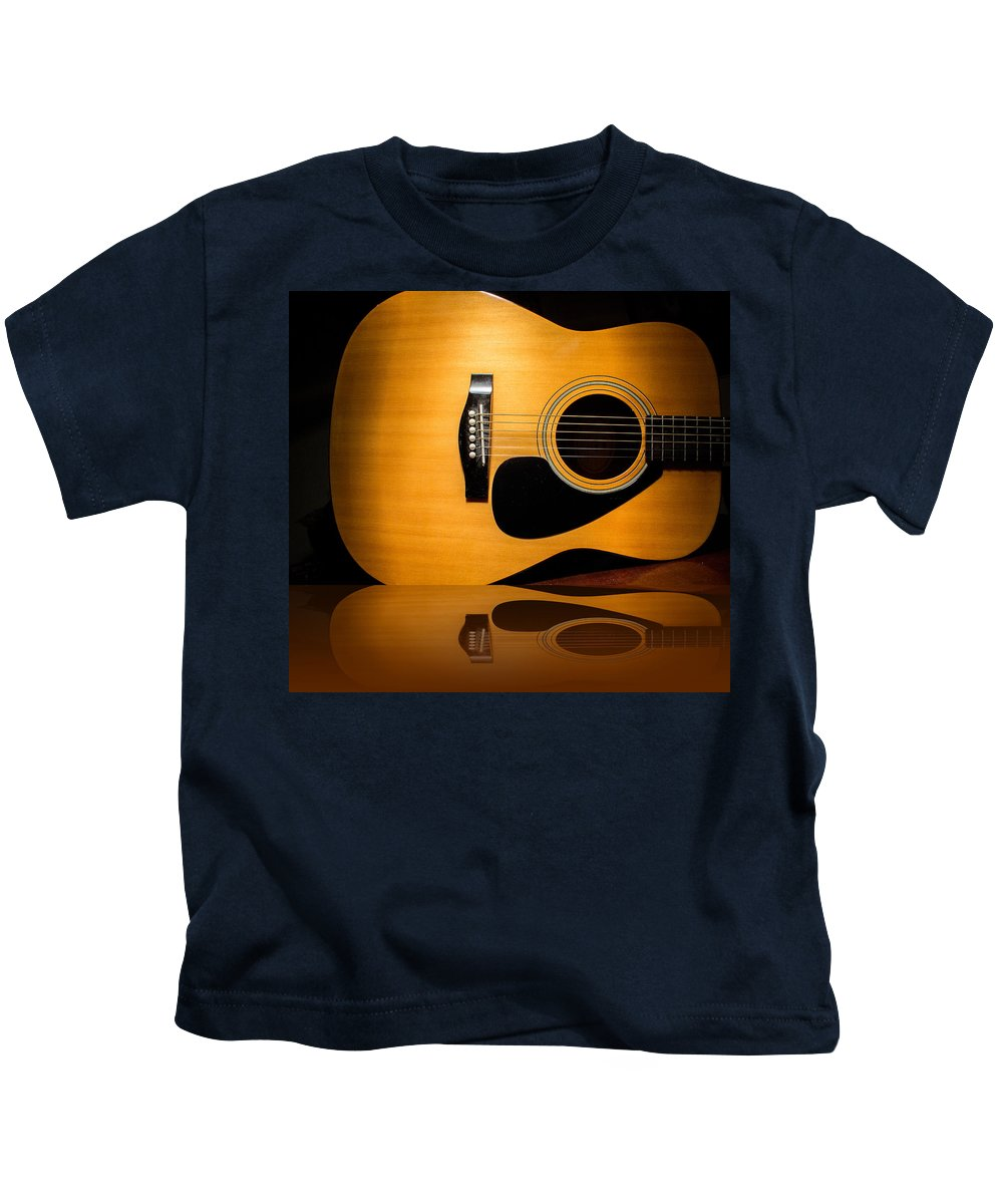 Guitar Kids T-Shirt featuring the photograph Acoustic Guitar Reflected by Robert Storost
