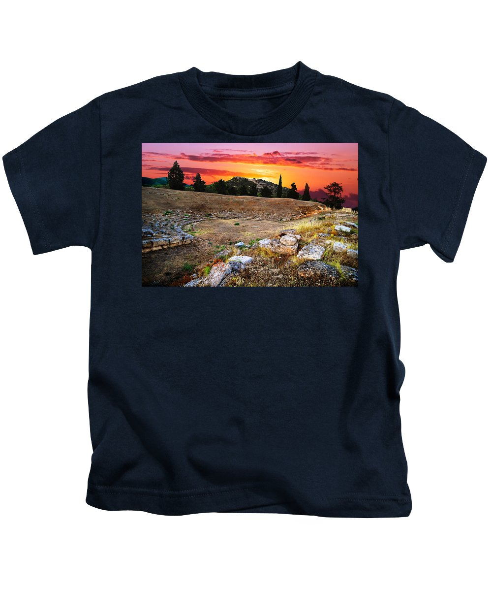 Amphitheatre Kids T-Shirt featuring the photograph Acropolis Of Eretria by Ivan Zeitlin