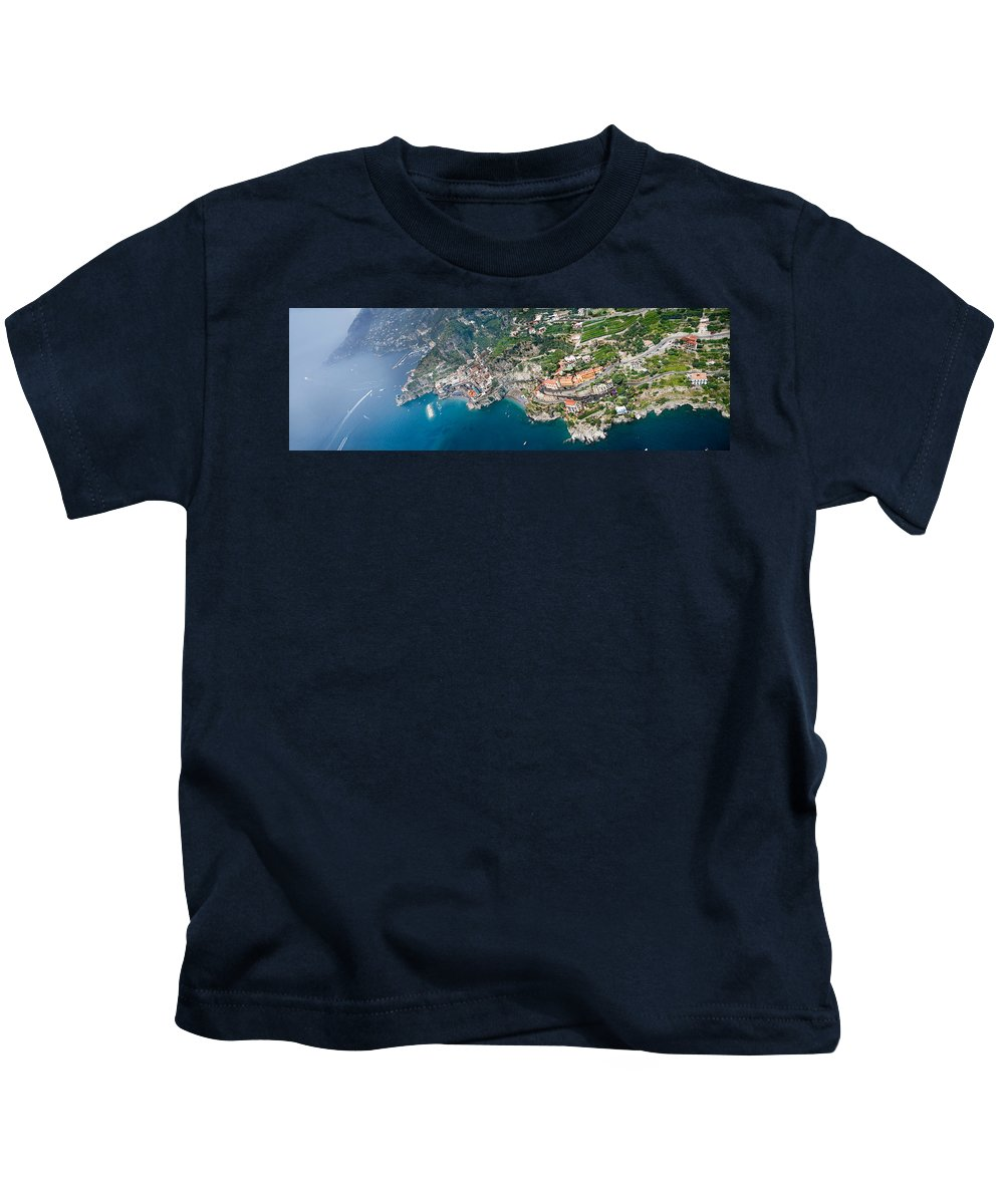 Photography Kids T-Shirt featuring the photograph Aerial View Of A Town, Atrani, Amalfi by Panoramic Images