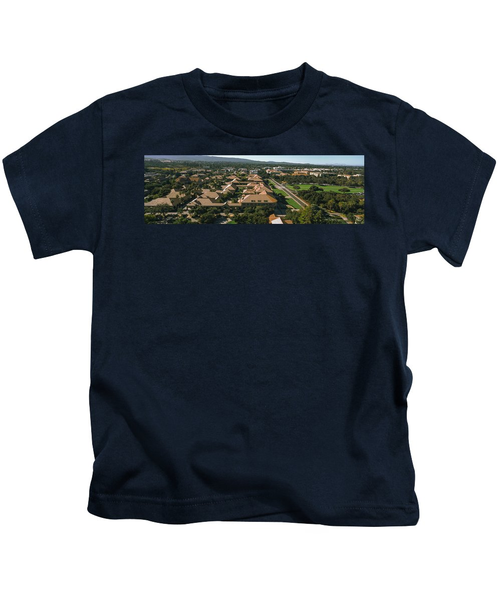 Photography Kids T-Shirt featuring the photograph Aerial View Of Stanford University by Panoramic Images