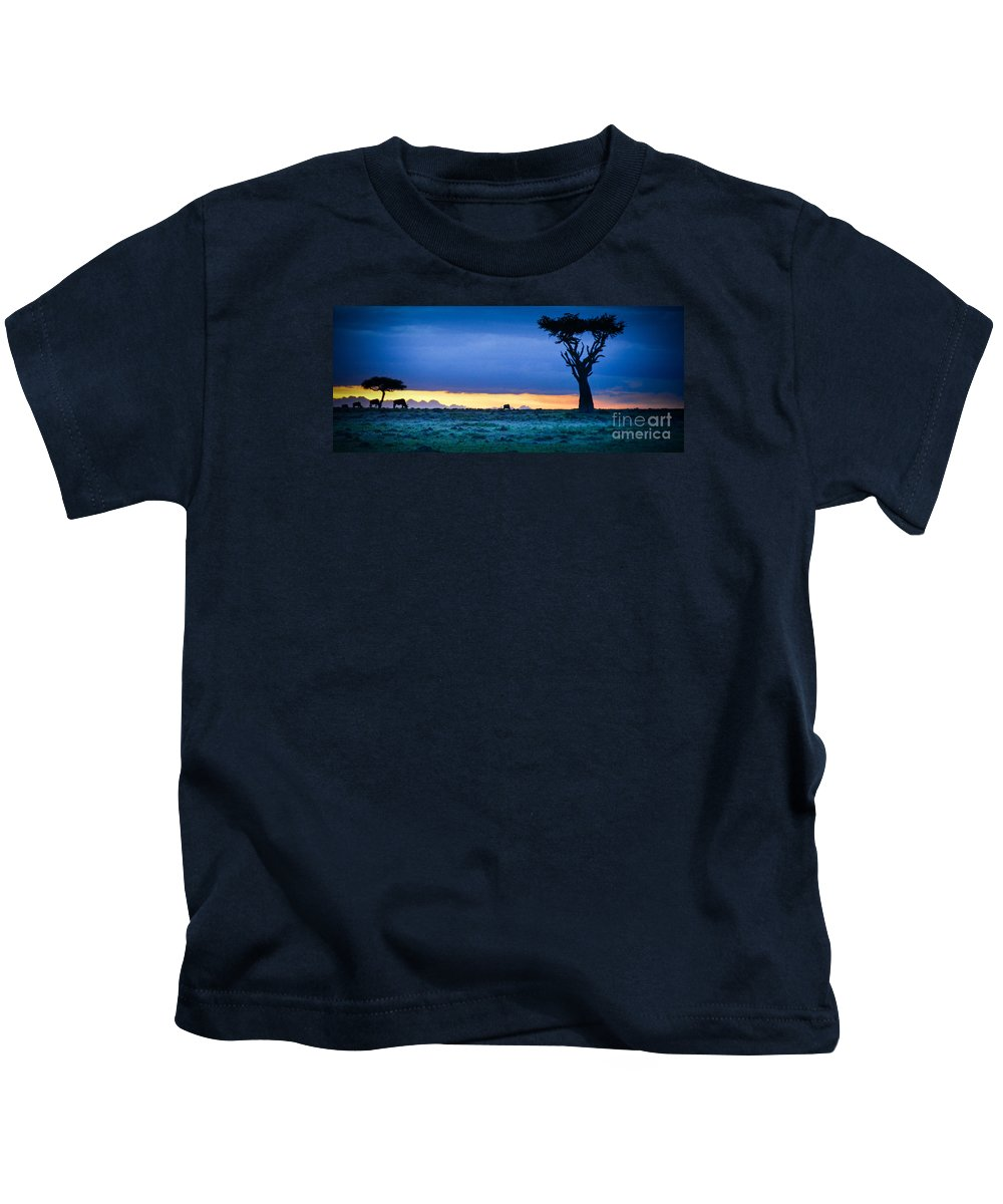 African Kids T-Shirt featuring the photograph African Panoramic Sunset Landscape by Gary Keesler
