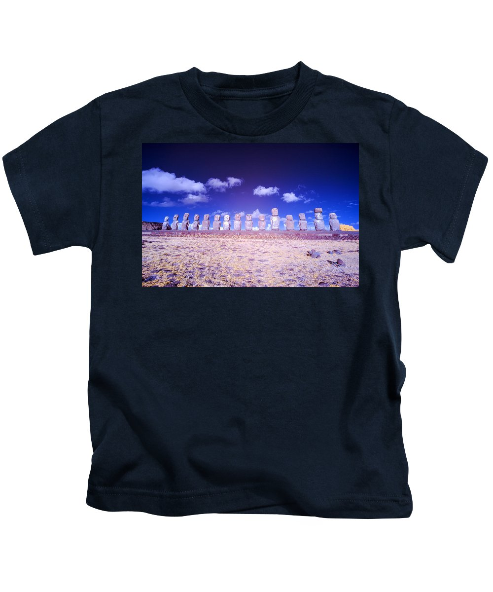 Chile Kids T-Shirt featuring the photograph Ahu Tongariki Infrared by Jess Kraft