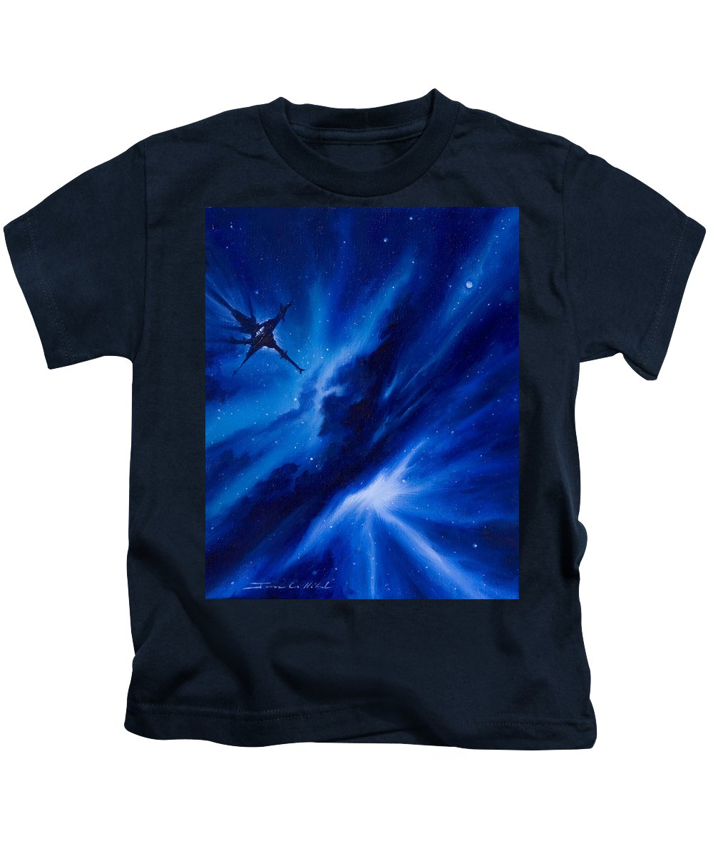 Stars Kids T-Shirt featuring the painting Andreas Nebula by James Christopher Hill