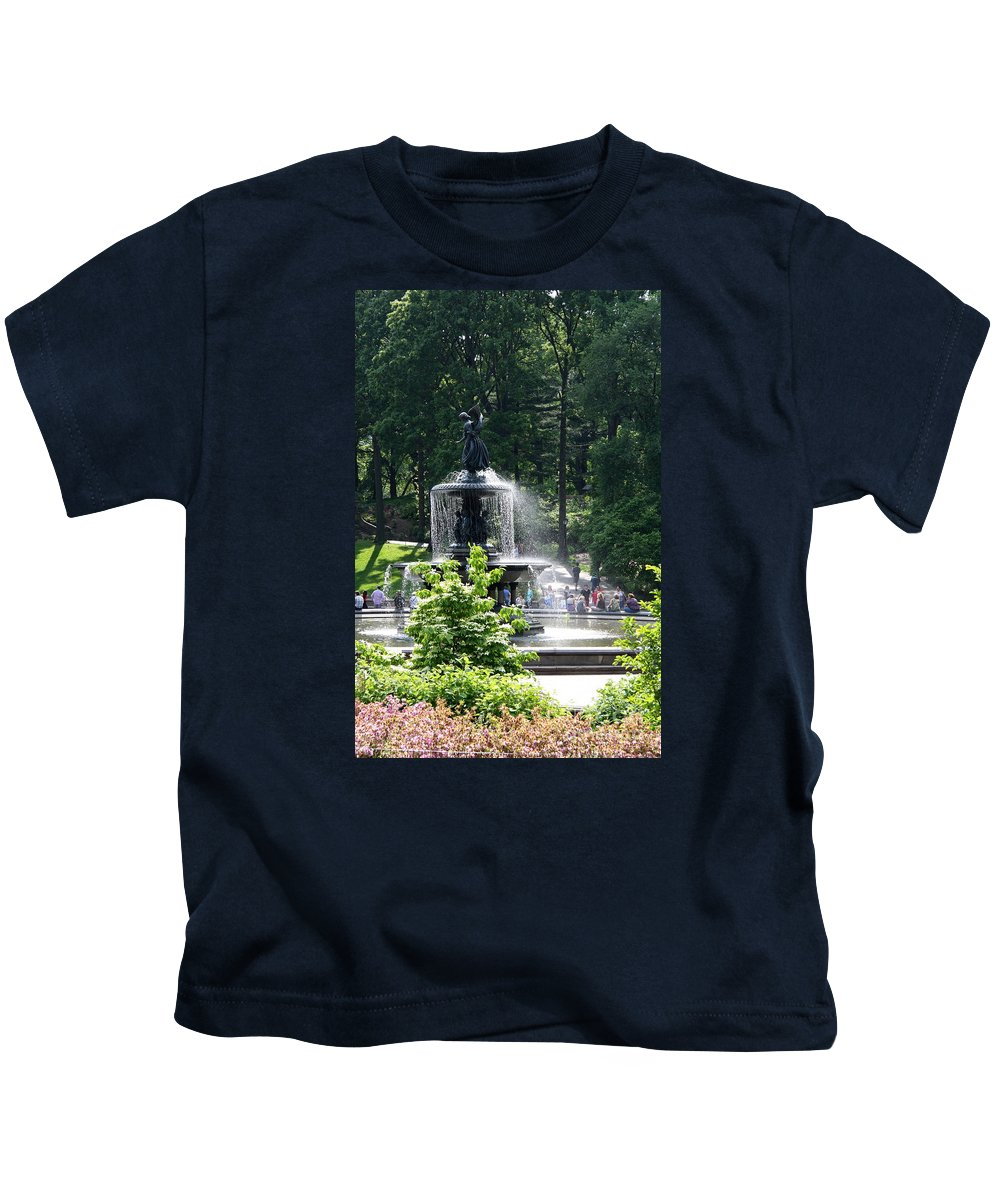 Angel Fountain Kids T-Shirt featuring the photograph Angel Fountain Nyc by Christiane Schulze Art And Photography