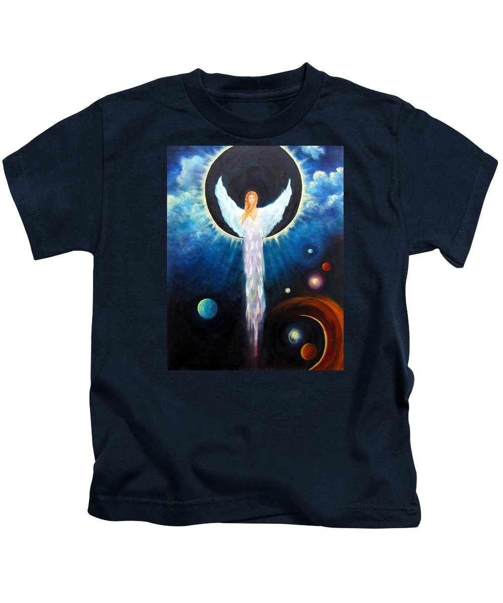 Angel Kids T-Shirt featuring the painting Angel Of The Eclipse by Marina Petro