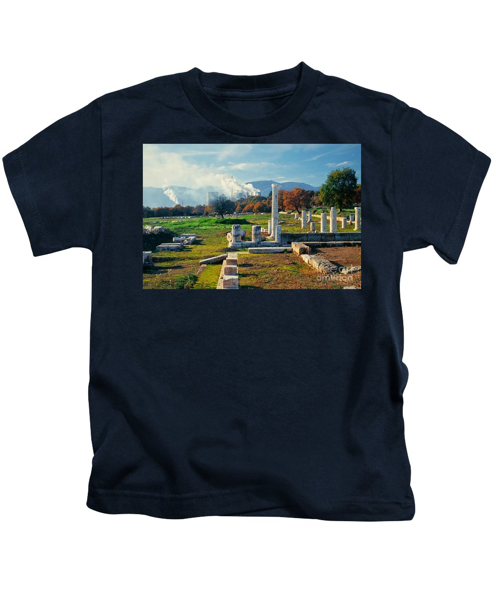 Peloponnes Kids T-Shirt featuring the photograph Antique Pillars And Power Plant Megalopoli Greece by Stephan Pietzko