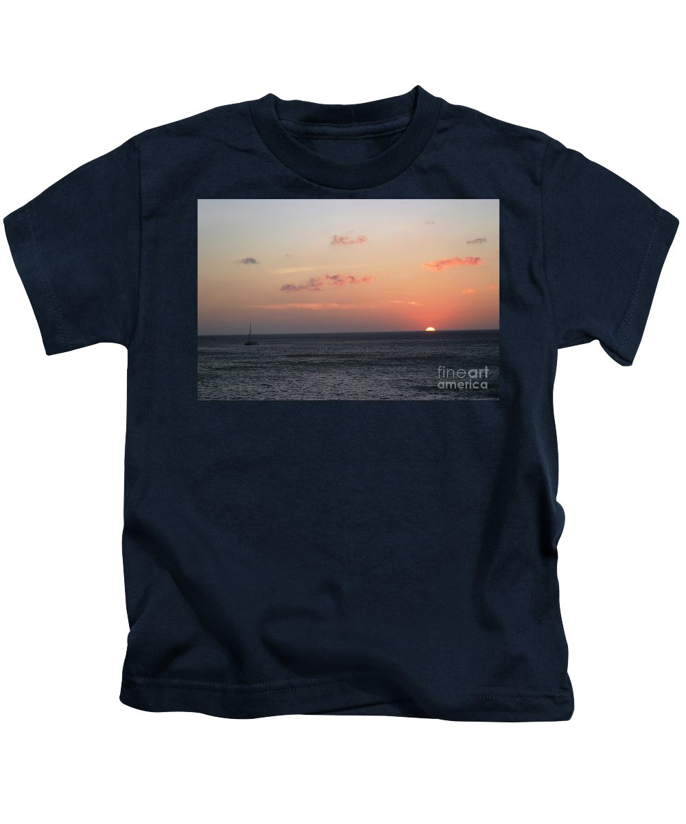 Sunset Kids T-Shirt featuring the photograph Aruba Sunset by Living Color Photography Lorraine Lynch