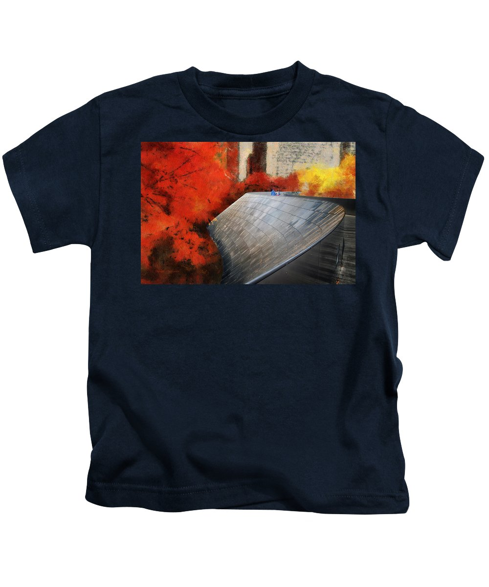 Chicago Kids T-Shirt featuring the photograph Autumn At Chicago Millennium Park Bp Bridge Mixed Media 03 by Thomas Woolworth
