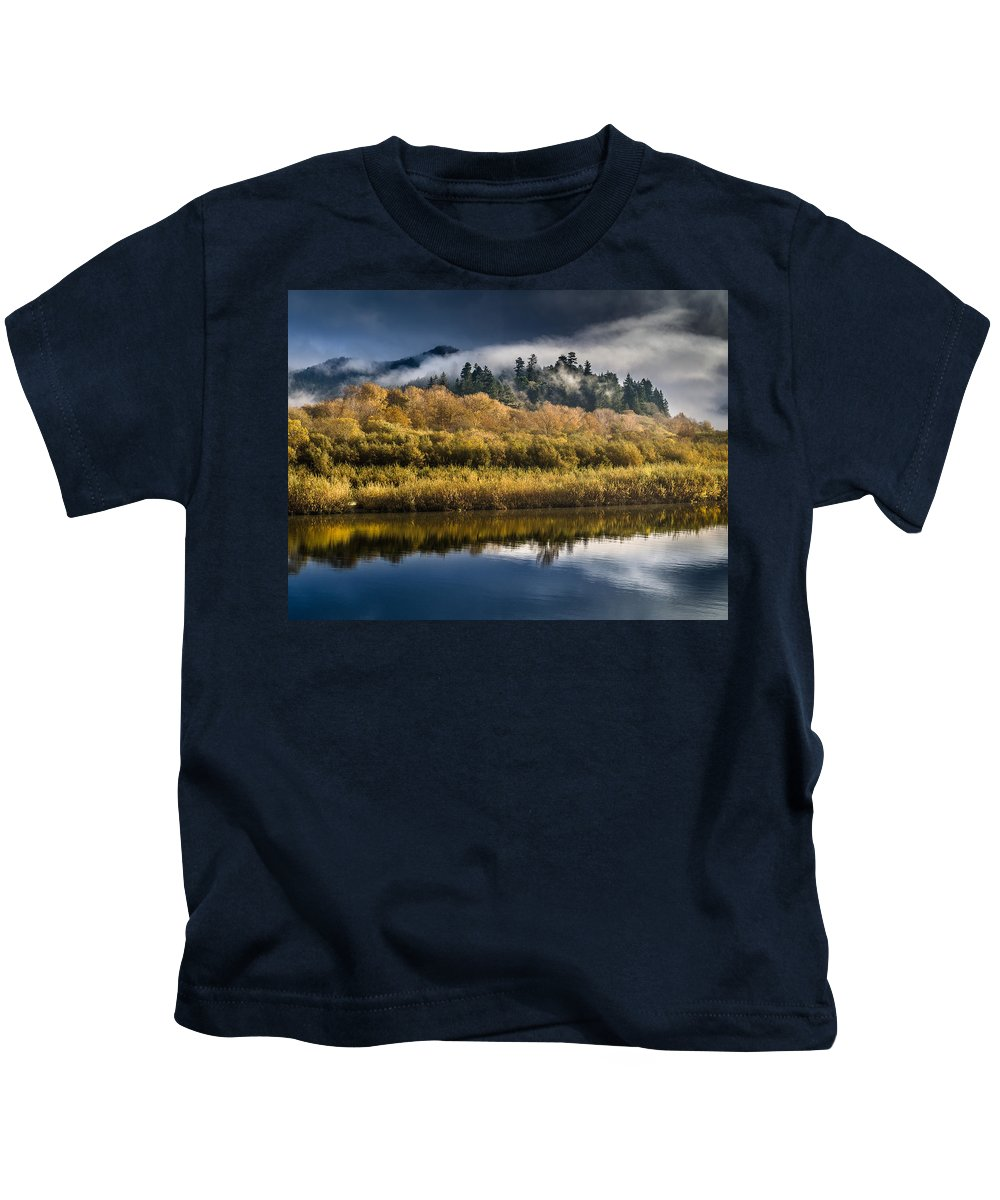 Fog Kids T-Shirt featuring the photograph Autumn On The Klamath 6 by Greg Nyquist