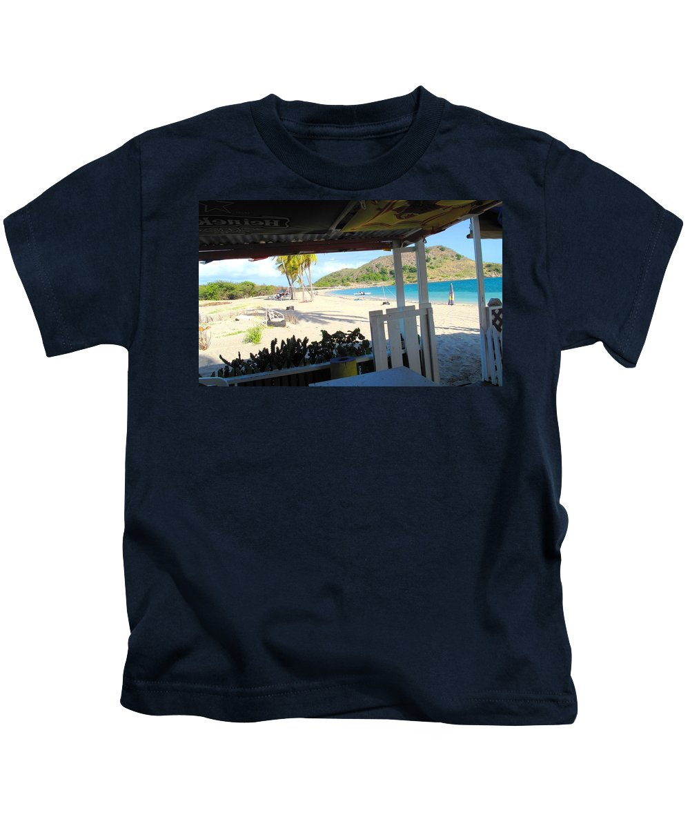 St Kitts Kids T-Shirt featuring the photograph Beach Bar In January by Ian MacDonald