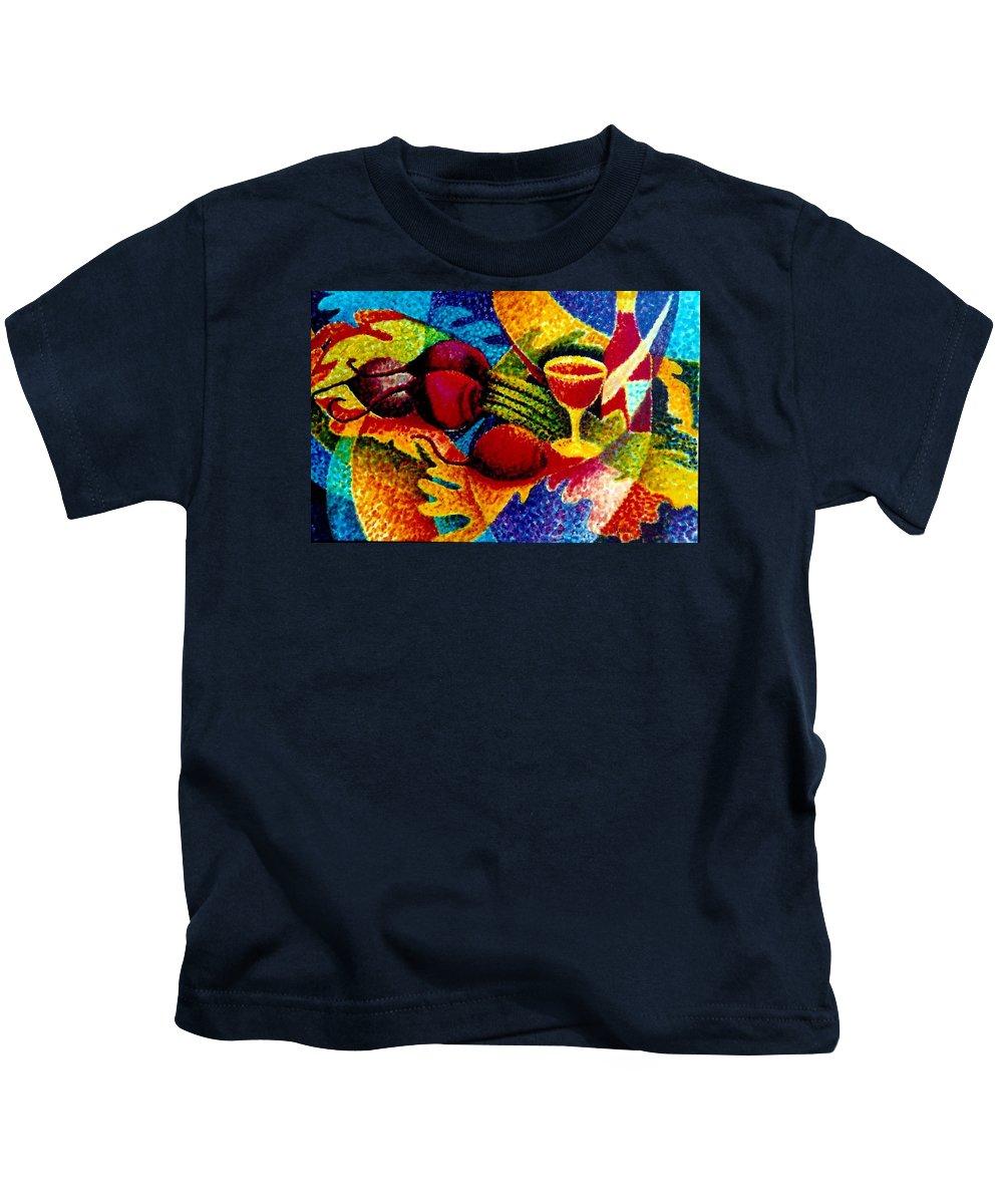 Kids T-Shirt featuring the painting Beet Salad Pointillism by JAXINE Cummins