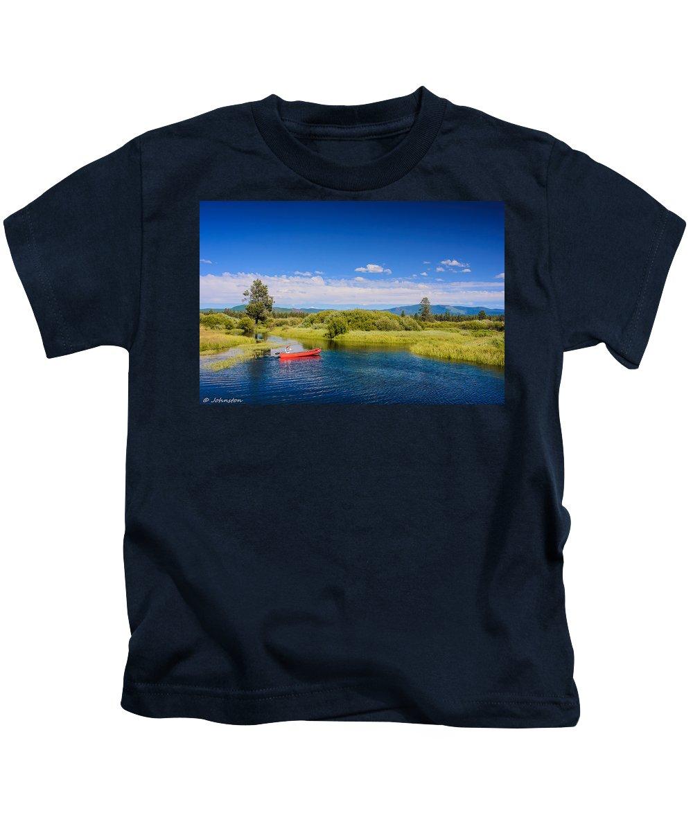 Bend Kids T-Shirt featuring the digital art Bend Sunriver Thousand Trails Oregon by Bob and Nadine Johnston