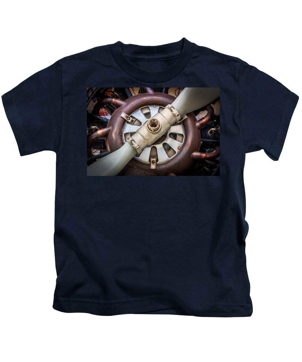 Aircraft Kids T-Shirt featuring the photograph Big Motor Vintage Vintage Aircraft by Rich Franco