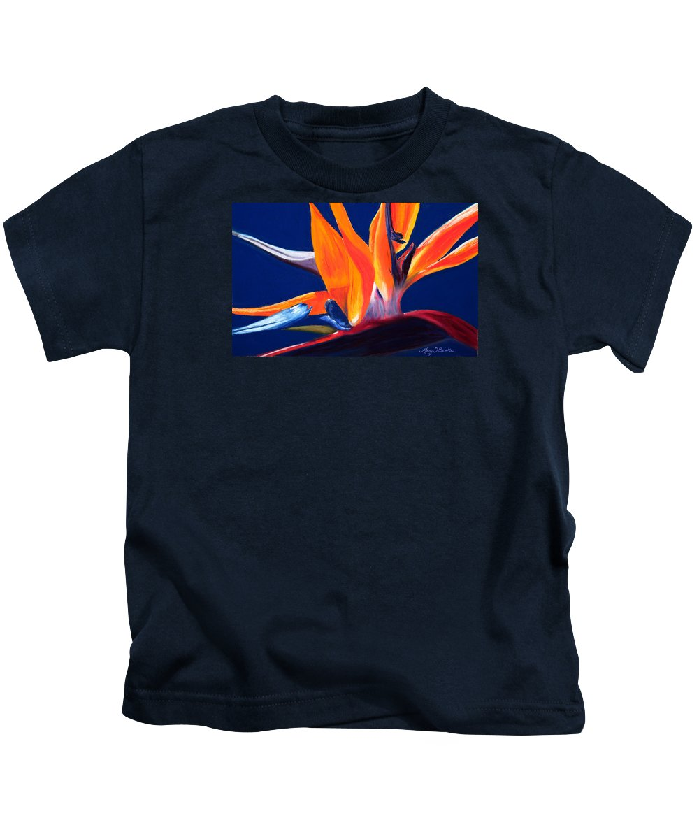 Bird Of Paradise Kids T-Shirt featuring the painting Bird Of Paradise by Mary Benke